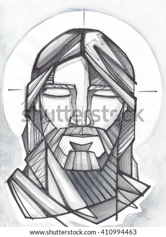 Hand drawn illustration or drawing of Jesus Christ Praying - stock photo