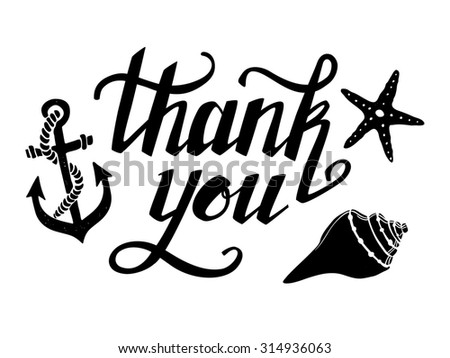 Hand-drawn illustration - Thank you. Hand lettering. Calligraphy - stock photo