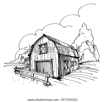 Hand drawn ink illustration of a farm - stock photo