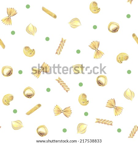 Hand-drawn italian pasta seamless pattern background with shell, tortellini, pipe, fusilli, farfalle, penne and sweet peas - stock photo