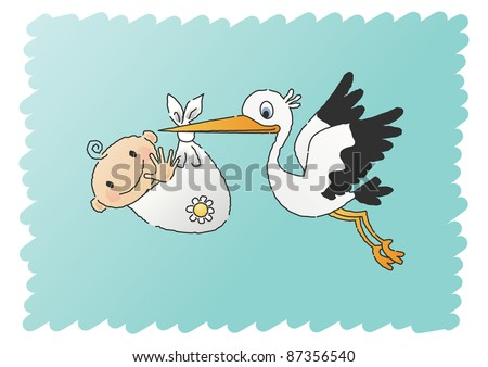 Hand-drawn JPEG illustration of a stork delivering a baby boy.  Also available as vector file. - stock photo