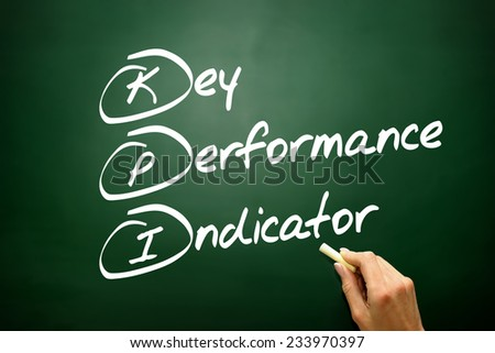 Hand drawn Key Performance Indicator (kpi) concept, business strategy on blackboard - stock photo