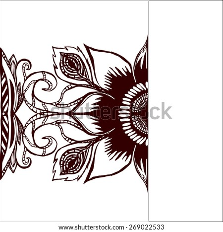 Hand-drawn lace ornament, abstract background. Horizontal wavy pattern floral frame design for card, with space for your text - raster copy illustration - stock photo