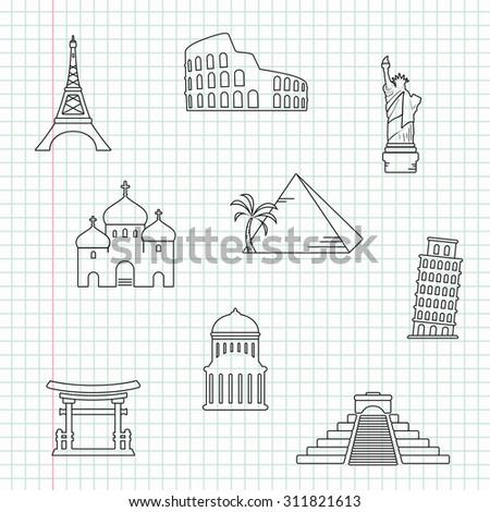Hand drawn landmarks - stock photo