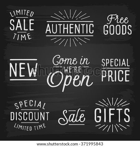 Hand drawn lettering slogans for retail. - stock photo