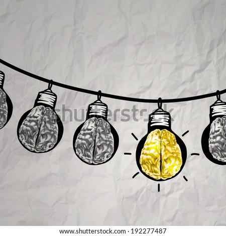 hand drawn light bulb on wire doodle with 3d metal brain as leadership idea concept  - stock photo