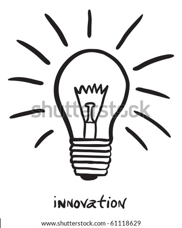 "hand-drawn lightbulb with ""innovation"" - stock photo"