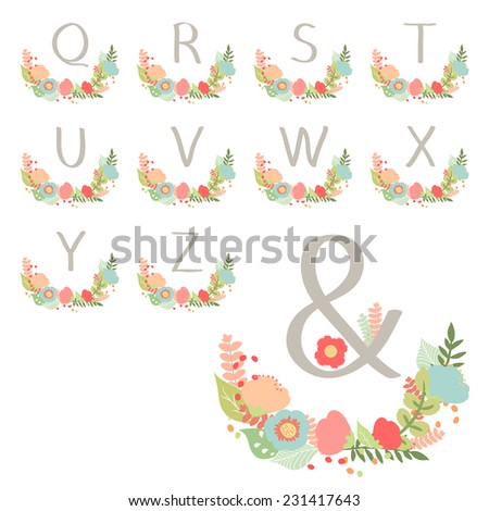 Hand drawn monogram wreath table card Q to Z illustration - stock photo