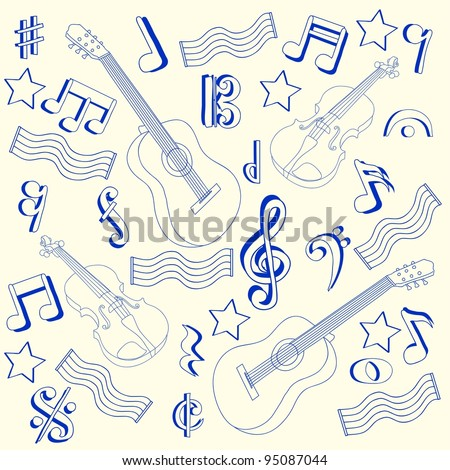 Hand Drawn Music Notes Icons - stock photo