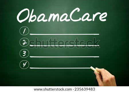 Hand drawn ObamaCare blank list, business concept on blackboard - stock photo