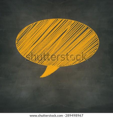 hand drawn orange chalked speech on design background - stock photo