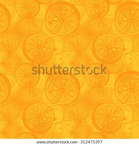 Hand drawn orange or lemon citrus fruit. Seamless wallpaper pattern with trace drawing of pen, ink and paper - stock photo