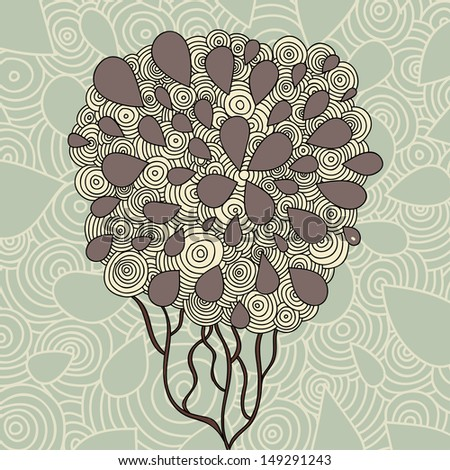 Hand Drawn Ornate Tree Doodle Illustration. Raster copy of vector illustrations that are in the portfolio - stock photo