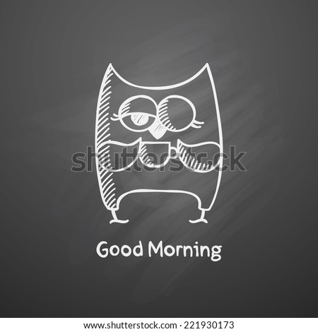 hand drawn owl with cup on black chalkboard - stock photo