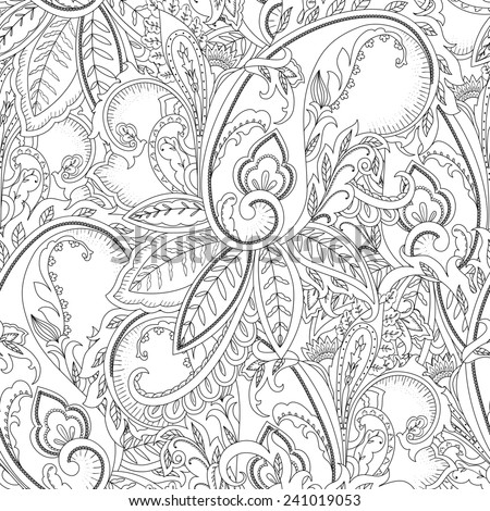 Hand-drawn paisley pattern. Ethnic design. Seamless background  - stock photo