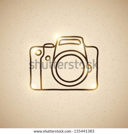 hand drawn photo camera on vintage background - stock photo