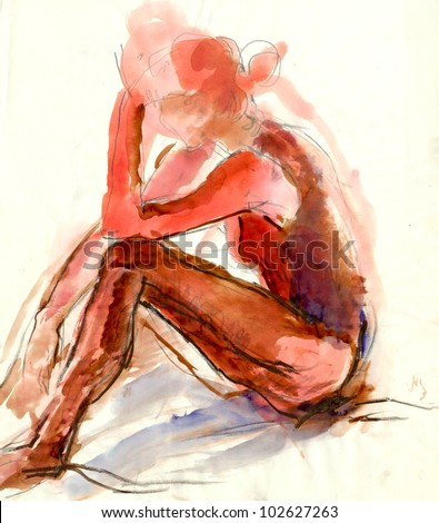 Hand drawn picture. Charcoal and water colors. A woman resting after exercise. - stock photo