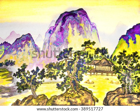 Hand drawn picture, in traditions of Chinese painting, watercolours. Landscape - mountains, trees and houses.  - stock photo