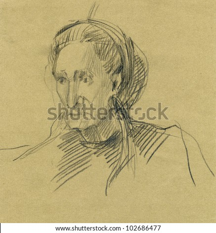 Hand-drawn picture. Pencil technique. Face of an old woman. - stock photo