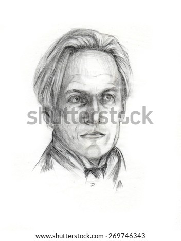 Hand drawn portrait of a blonde gentleman, retro style. Pencil on white background. Original art. Fictional character. - stock photo