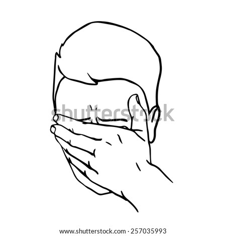 Hand drawn portrait of a Face Palmed Guy. Man covered his face with his hand.  - stock photo