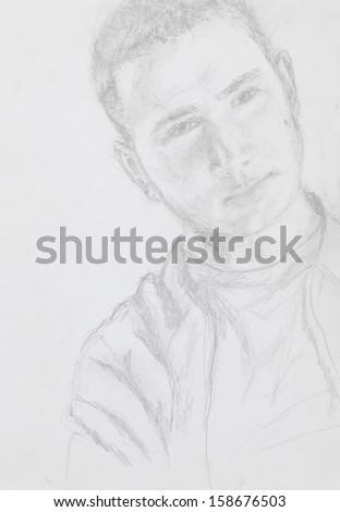 hand drawn portrait of young caucasian man, pencil technique - stock photo