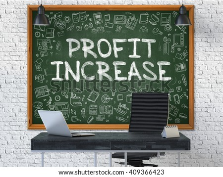 Hand Drawn Profit Increase on Green Chalkboard. Modern Office Interior. White Brick Wall Background. Business Concept with Doodle Style Elements. 3D. - stock photo