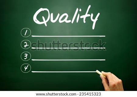 Hand drawn Quality blank list, business concept on blackboard - stock photo