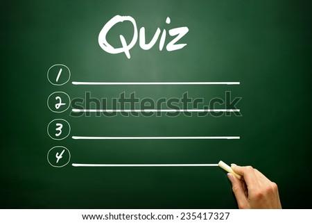 Hand drawn QUIZ blank list, business concept on blackboard - stock photo