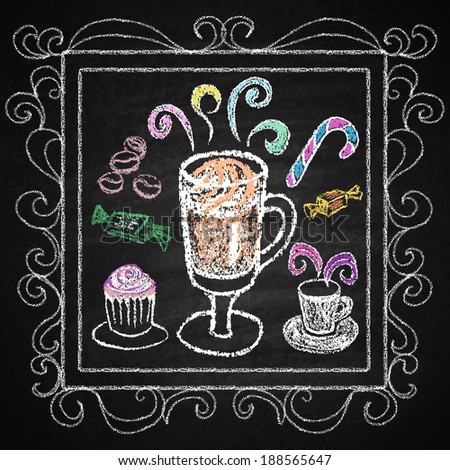 Hand drawn restaurant menu elements. Chalk on board. Cup of coffee.  illustration. - stock photo