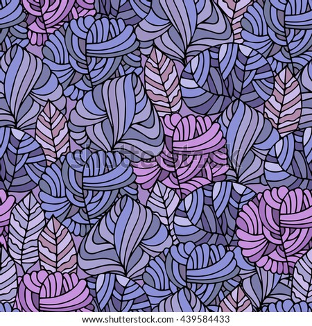 Hand Drawn seamless floral pattern.Stylized Decorative trees in blue.Illustration for design of gift packs,wrap,patterns fabric,wallpaper,web sites.Nature backdrop,repeated background - stock photo