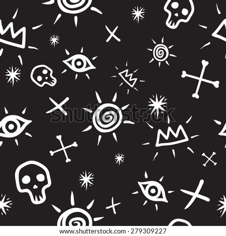 Hand drawn seamless pattern with bones, skulls, crowns and eyes. Raster version. - stock photo