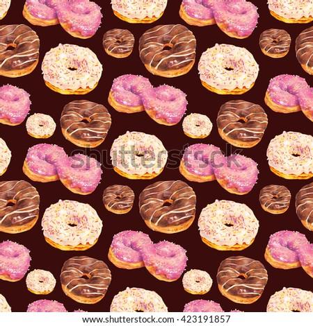 Hand drawn set of delicious glazed donuts dessert. Isolated organic food illustration on black background. Vintage bakery pencil food illustration - stock photo