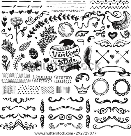Hand-drawn set of vintage elements, flowers and leaves, ribbons and ornaments. Illustration. Raster version. - stock photo