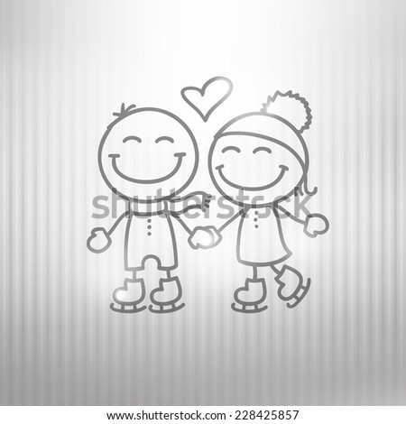 hand drawn skaters couple on gray striped background - stock photo