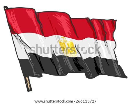 hand drawn, sketch, illustration of flag of Egypt - stock photo