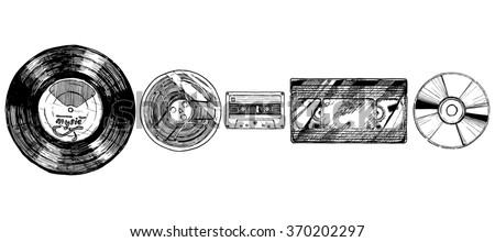 hand drawn sketch of media evolution set in ink hand drawn style. Vinyl record, tape reel, compact tape cassette, VHS and compact disc. isolated on white. - stock photo