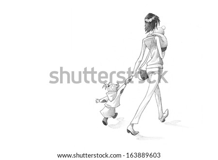 Hand-drawn Sketch, Pencil Illustration, Drawing of Woman Waking Hurried With Her Children  | High Resolution Scan - stock photo