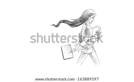 Hand-drawn Sketch, Pencil Illustration, Drawing of Young Woman With Her Coffee To Go | High Resolution Scan, Decent Copy Space - stock photo