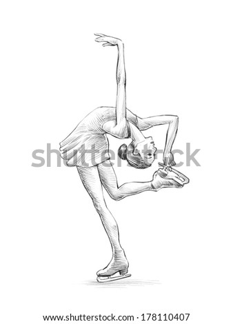 Hand-drawn Sketch, Pencil Illustration of a Figure Skater Woman | High Resolution Scan - stock photo