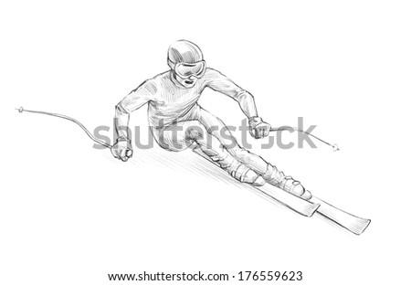 Hand-drawn Sketch, Pencil Illustration of an Alpine Skier Speeding Downhill - stock photo