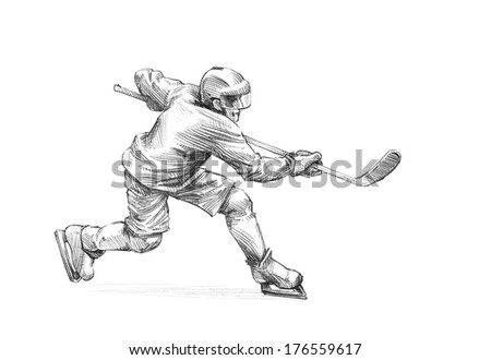 Hand-drawn Sketch, Pencil Illustration of an Ice Hockey Player - stock photo