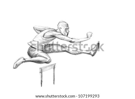 Hand-drawn Sketch, Pencil Illustration Olympic Games Athletes | Hurdling | High Resolution Scan - stock photo