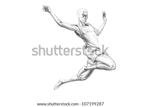 Hand-drawn Sketch, Pencil Illustration Olympic Games Athletes | Long Jump | High Resolution Scan - stock photo