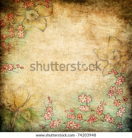hand drawn spring flowers on grunge background - stock photo