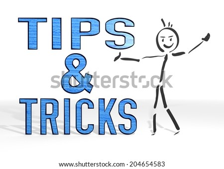 hand drawn stick man presents a tips sign white background - stock photo