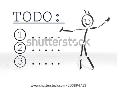 hand drawn stick man presents a to do symbol white background - stock photo