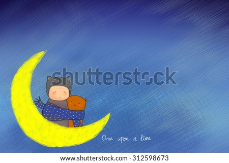 hand drawn teddy bear and child hugging together with sharing scarf. Big moon night  sky background. Idea of warm, togetherness, dream, valentine, birthday, sharing, caring, sad concept wallpaper - stock photo