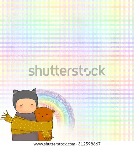 hand drawn teddy bear and child hugging together with sharing scarf. Colorful rainbow with stripes background. Idea of warm, togetherness, valentine, birthday, sharing, caring, sad concept wallpaper - stock photo
