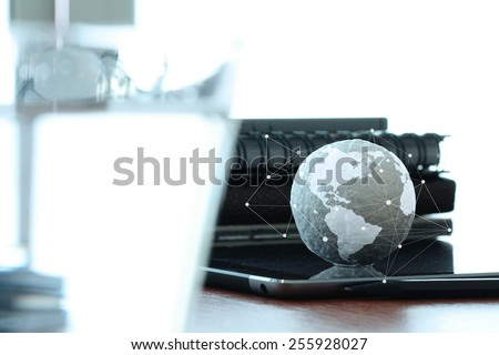 hand drawn texture globe with blank social media diagram on digital tablet  computer as internet concept and bokeh exposure - stock photo